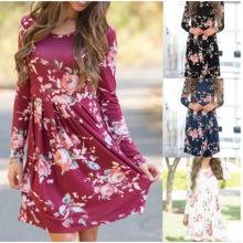 S-2XL women autumn spring dress slim floral print o neck long sleeve brand