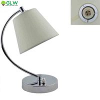 GLW Dimmable Desk Lamp Modern Table Lamp Simple Fabric Cloth Shade Nightstand Bedside Bedroom Living Room Flaxen Decor Light