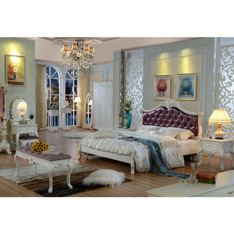 European Luxury Bedroom: Luxury Newest Design High Back Double Big Bed European