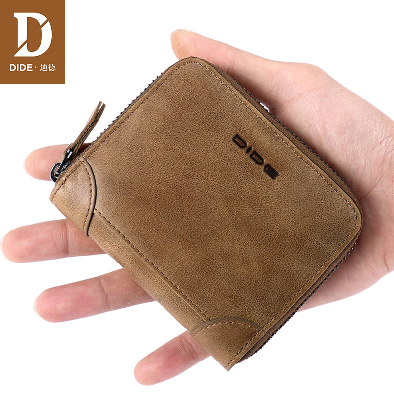 DIDE Fashion Casual Genuine Leather purse female original leather Zipper Wallets Women Purses Coin Card Holder Wallet Ladies Bag покрывало на кресло les gobelins mexique 50 х 120 см