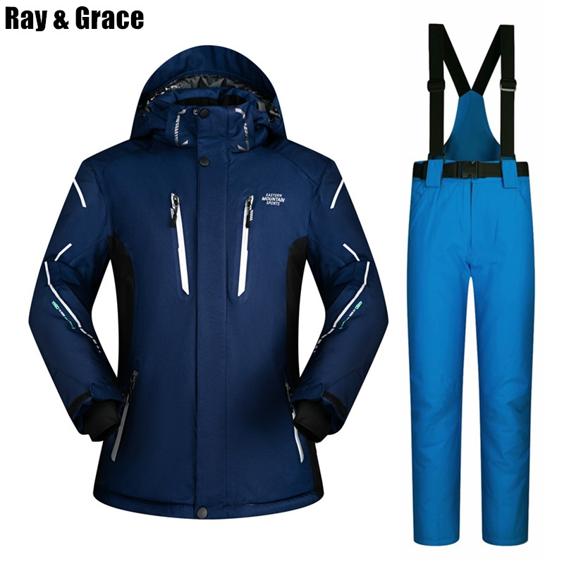 RAY GRACE Snowboard Clothing For Men Winter Super Warm Winter Outdoor Jacket Pants Set Windproof Waterproof