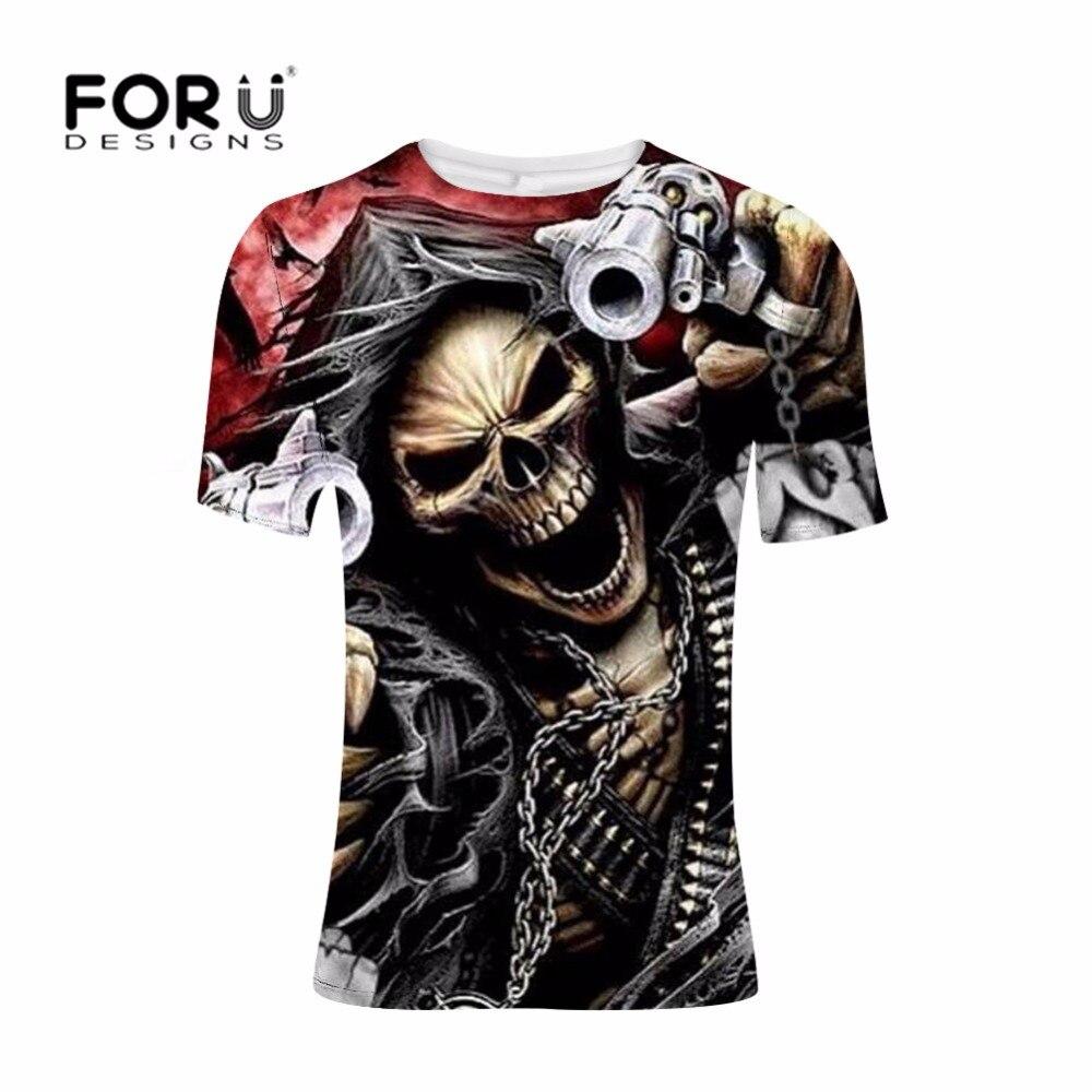 FORUDESIGNS Punk Style T Shirt Men Skull Printing T-shirt Teenagers Cool Pattern Tee for Male Gun Summer