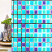 90*100 cm Opaque Color box mosaic Frosted decorative Window Films Vinyl Static Cling Self adhesive Privacy Glass Stickers