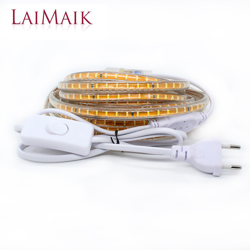 LAIMAIK led strip light Waterproof outdoor with ON/OFF switch AC220V led flexible strip 3m/5m/10m white/warm white tape SMD3014
