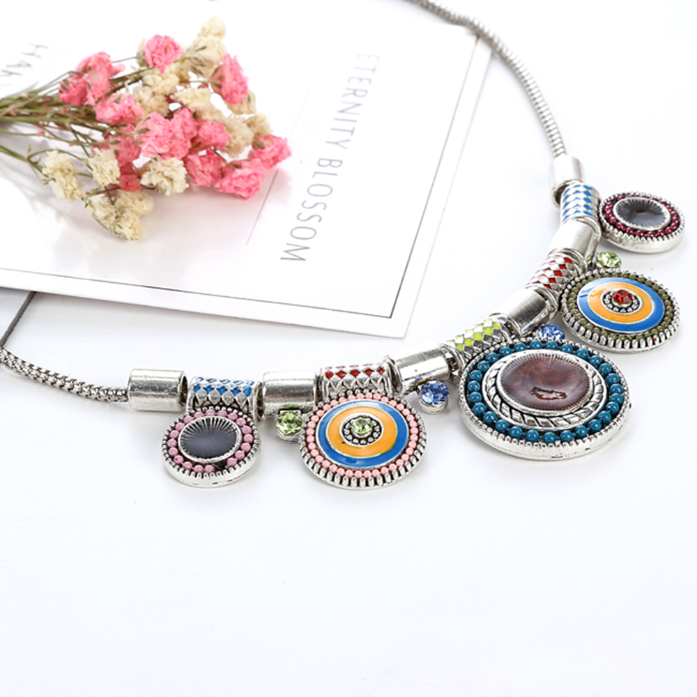 Ethnic Silver Plated Colorful Bead Pendant Choker Necklace