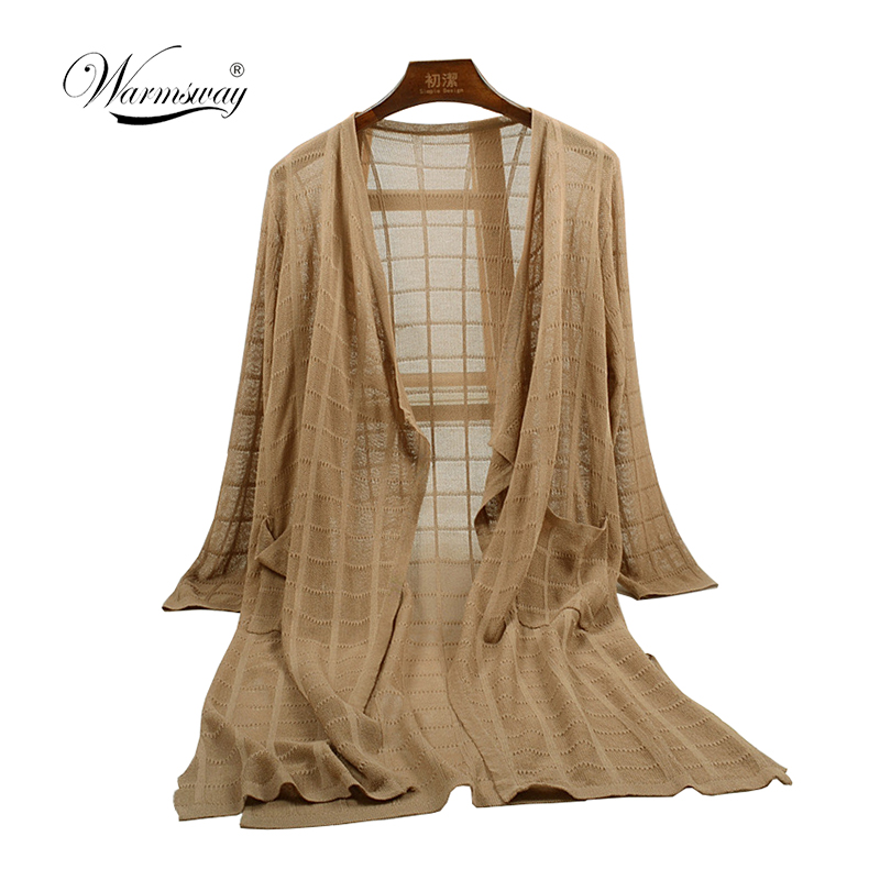 Warmsway Summer Kimono knit long Cardigan Women Loose Blouses Shirt Beach Sunscreen Clothing female casual thin coat B-128