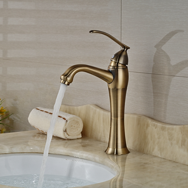 Wholesale And Retail Deck Mounted Bathroom Basin Faucet Antique Bronze Vessel Sink Mixer Tap Hot and Cold Water free shipping wholesale and retail golden waterfall arc shaped basin vessel sink faucet deck mount basin mixer tap