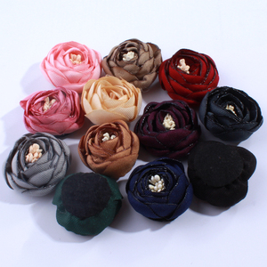 10PCS 3CM Hot Sale 3D Mini Satin Tulip Flowers For Hair Accessories Lovely Antique Burned Fabric Flower For Headbands(China)