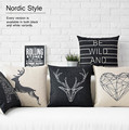 Free shipping/black and white geometric simplicity Nordic deer cotton pillowcase car sofa cushion for leaning on of 43 * 43