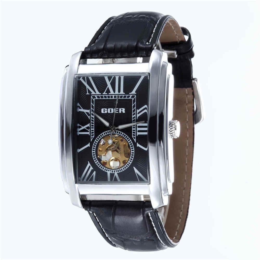 Relogio Masculino TOP ยี่ห้อ Luxury Skeleton นาฬิกาผู้ชายหนังสี่เหลี่ยมผืนผ้าอัตโนมัติสำหรับนาฬิกาข้อมือผู้ชาย GOER