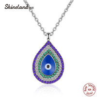 Shineland 2018 Collection 925 Sterling Silver Trendy Waterdrop Blue Eyes Clear CZ Pendant Necklaces Women Luxury Charm Jewelry