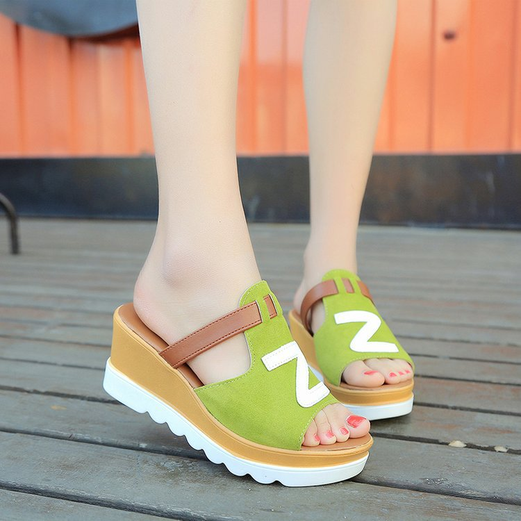 2018 summer new style slippers and slippers with high heel and thick anti-slip soles sandals with new sloping and muffin soles 16