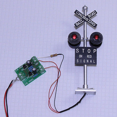 6PCS HO Scale Railroad Crossing Signals 4 heads LED made Circuit board flasher JTD876RP