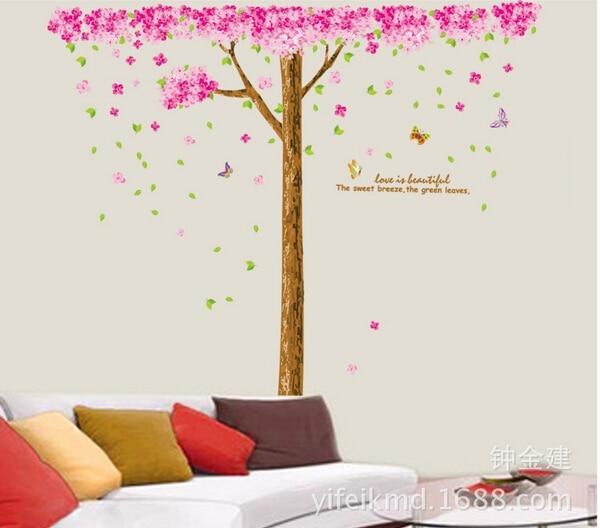 Cherry Tree Wall StickerJM7188AB Romantic Marriage Room Bedroom Living Room  Wall Decor Background Bigger Draw New