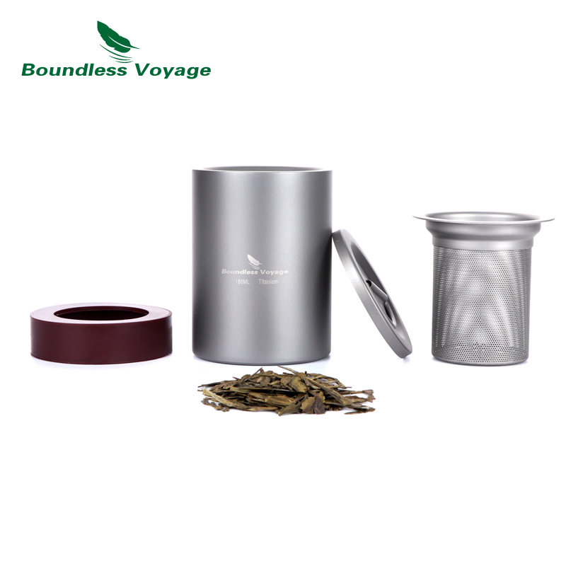 Boundless Voyage Pure Titanium Double Layer Wall Tea Cup Outdoor Camping Hiking Portable Tea set with Filter 180ml