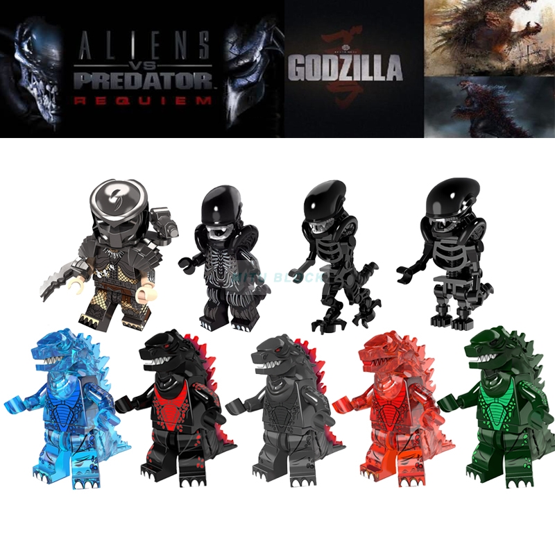 Single Sale Lava Transparent Alien Predator Movie Super Heroes Zombie One-Eyed Alien Predator Building Blocks Toys
