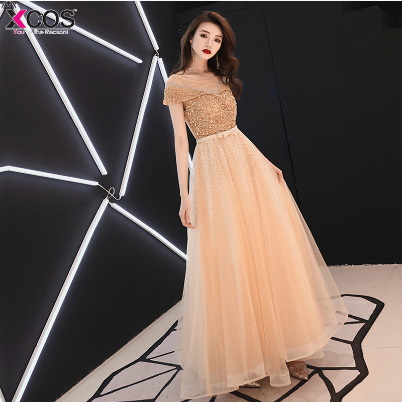 Robe de bal XCOS perle corsage Vestidos de fiesta largos elegantes de gala une ligne Champagne robe de soirée formelle Gala jurken