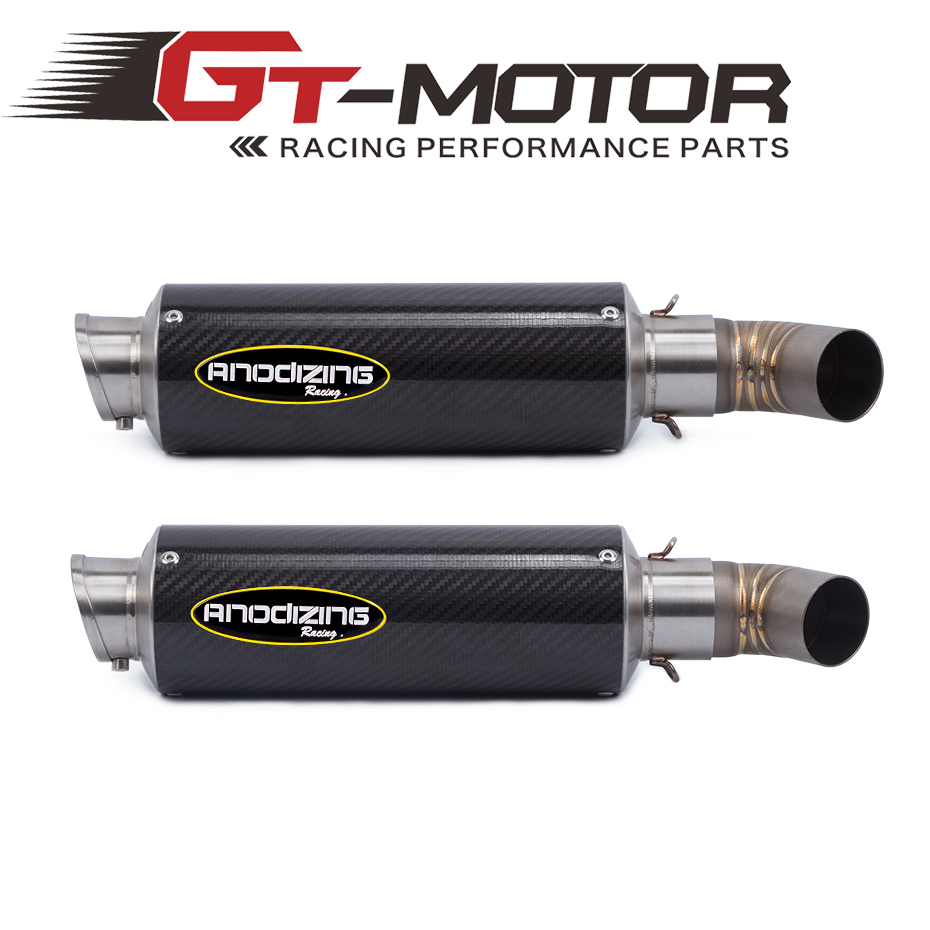 GT Motor -Motorcycle Exhaust Muffler Pipe Link Pipe Carbon Fiber Exhaust Slip on Escape FOR DUCATI 696 2008-2014 796 795 10-14