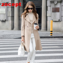 zocept 2016 Autumn Winter New High-end Double-Sided Cashmere Coat Women Long-Sleeved Wool Solid Long Jacket Female warm clothes