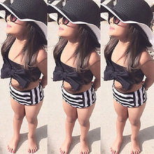 Cute Baby Kids Girl Bikini Set Swimwear Striped Triangle Bow Swimming Bathing Suit Swimsuit Proud Princess Beachwear