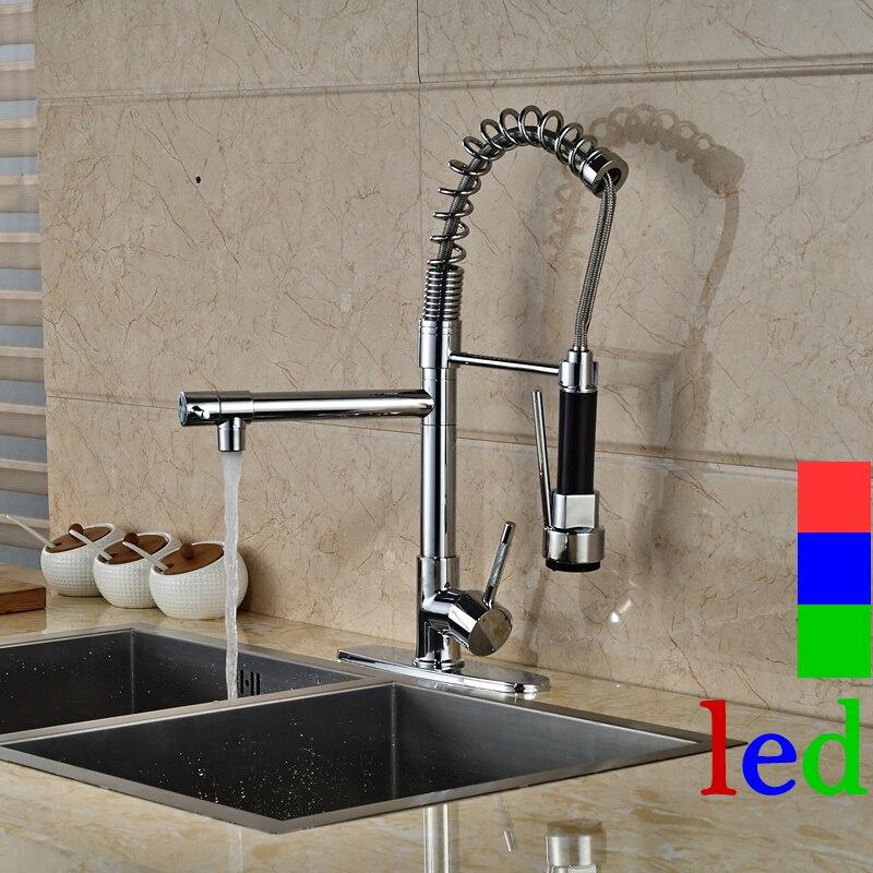 Single Handle Deck Mounted Chrome Kitchen Faucet LED Light