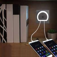 Light Sensor LED Night Light Plug-in Dusk to Dawn Sensor Lamp with Dual USB Charging Port For Kids Adults Bedroom Living Room