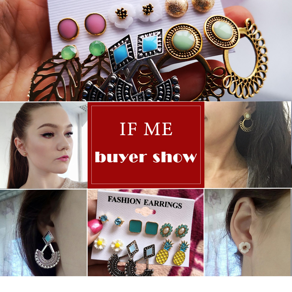 Vintage Stud Earrings Set Mixed for Women  2