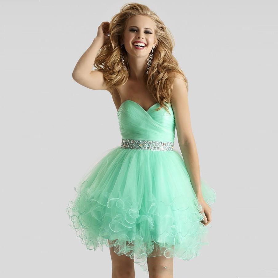 cbc43087a2f0c US $123.19 |Short Mint Green Homecoming Dresses Ball Gown 2016 Cheap Sexy  Backless Ruffles Beaded Short Prom Party Dress Graduation School-in ...