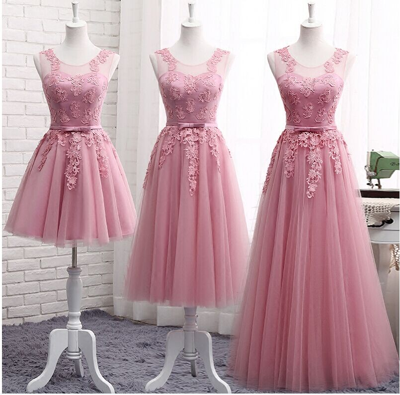 Dusty Pink Bridesmaid Dresses Long Sleeveless Lace Appliques Cheap Formal Prom Party Dresses Vestidos De Noiva Robe De Mariage