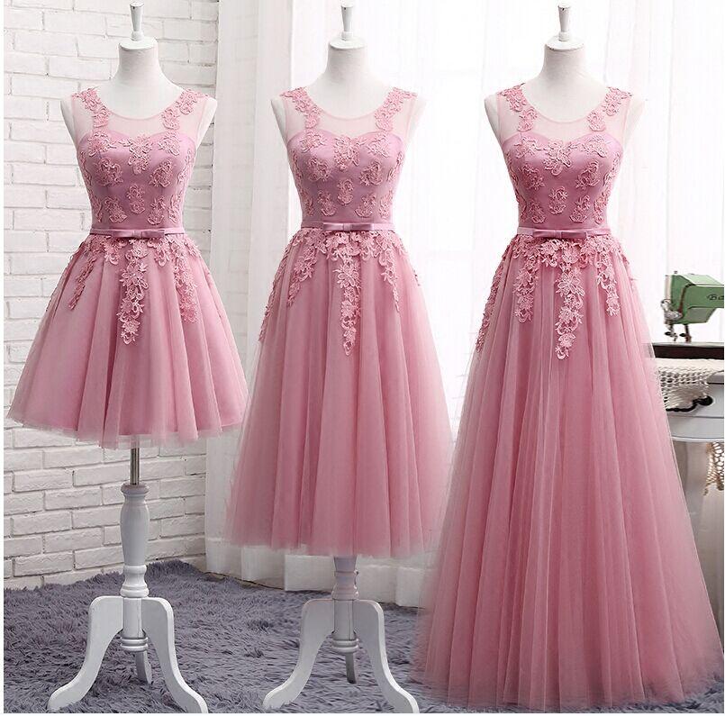 Robes De demoiselle d'honneur rose poussiéreux longue sans manches dentelle Appliques pas cher robes De bal formelles robes De Noiva Robe De Mariage