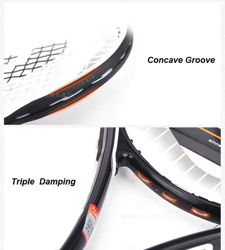 Original HEAD Tennis Racket Ti Tour Campus Series Tennis Racquet Carbon Paddle Raquete Tenis With Bag HEAD Racket Tenis Grip 414