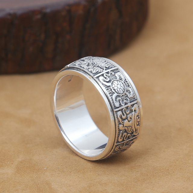 Handmade 925 Silver Buddhist Eight Sacred Symbol Ring Tibetan Good