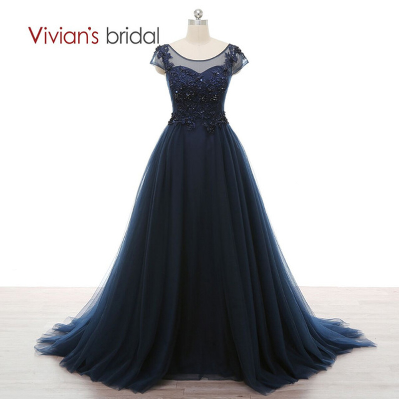Vivian\'s Bridal Beaded Sequin A Line Plus Size Evening Dress Scoop ...