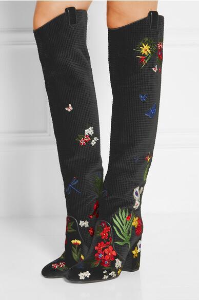 Mode piste hiver genou bottes haute qualité Floral daim femmes bottes chinois broderie Zip chaussures femme grande taille 42