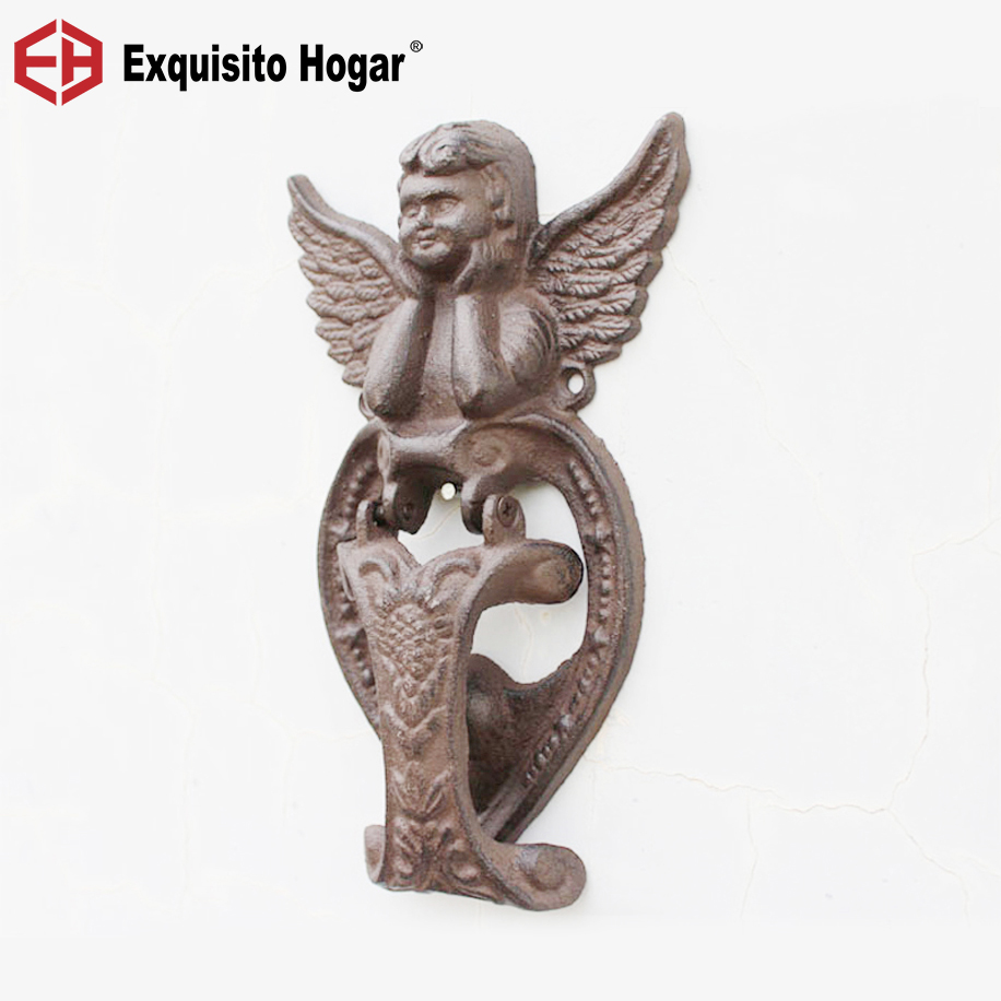 Design Style Cast Crafts Retro Iron Knocked Door Handle Antique Courtyard Home Furnishing Mural Owl Bird Rudder Angel Horse iron angel