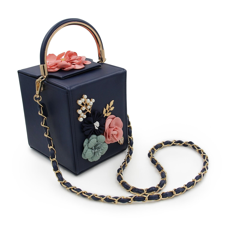 AUAU Women Clutches Flower Clutch Bag Box Clutch Purse Evening Handbag