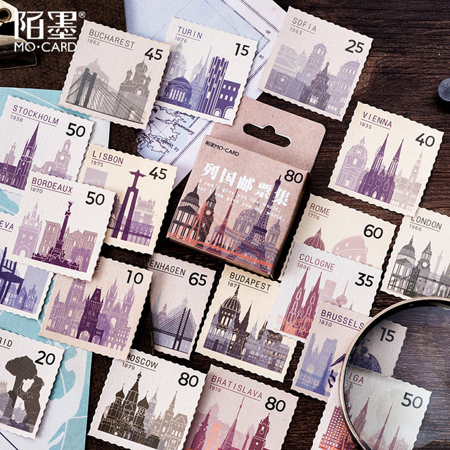 Stamp Collection Countries Stickers Set Decorative Stationery Stickers Scrapbooking DIY Diary Album Stick Lable