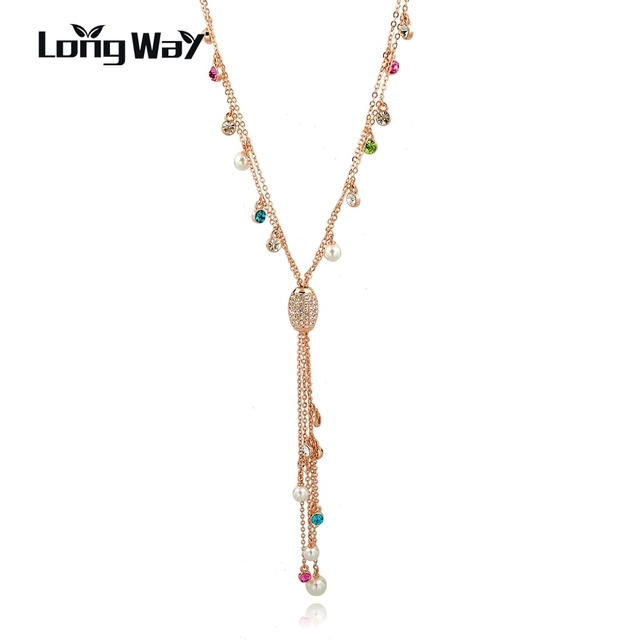 33298611ee0e LongWay Multicolor colgante borla collar mujeres simulado perla cristal oro  Color collar largo Bijoux Sne160128