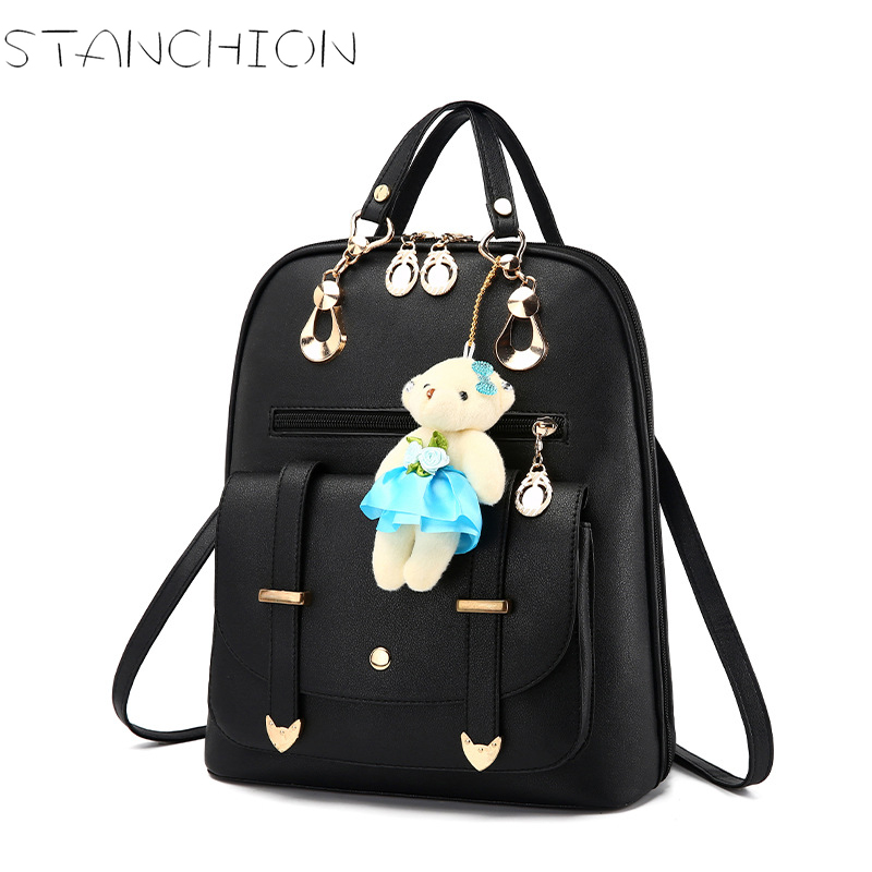 Female Backpacks Leather Students School Bags Cute bear Travel Shoulder Bags For Teenage Girls Mochilas causes for low achievement among school final students