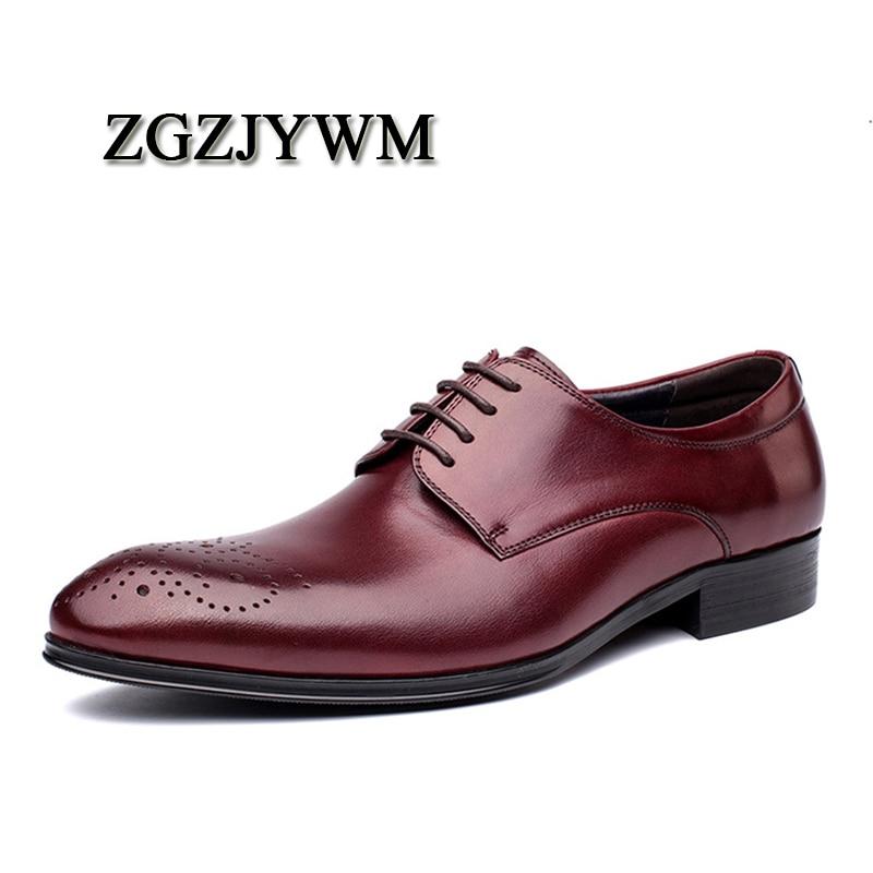 Oxfords Toe High Dos end Sapatos Zgzjywm Sólidos Moda Couro De Homens Negócios Genuíno Casamento Black red Escritório Borracha Vestido Apontou Lace up wnBBAv6xYq