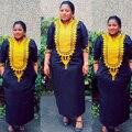 Africano bazin bordado vestidos longos vestido sem lenço de material macio