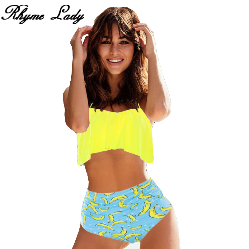Rhyme Lady Women sexy bikini set 2018 high waist Swimwear girls Beach Bathing Suit Swimsuit Push Up brazilian swimming suit