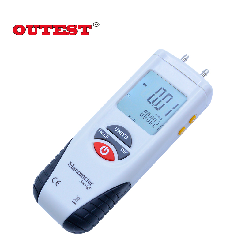 OUTSET HT1890 Digital Piezometer Differential pressure gauge meter Non contact Dual LCD Backlight display pressure tester