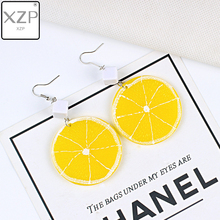 XZP New Harajuku Style Cute Lemon Drop Earrings for Women Girl Sweet Round Fruit Jewelry Long Gift Party Beach Brincos
