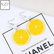 XZP New Harajuku Style Cute Lemon Drop Earrings for Women Girl Sweet Round Fruit Jewelry Long Earrings Gift Party Beach Brincos(China)