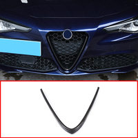 Carbon Fiber Style ABS Plastic Front Face Net Decoration Frame Trim For Alfa Romeo Giulia 2017