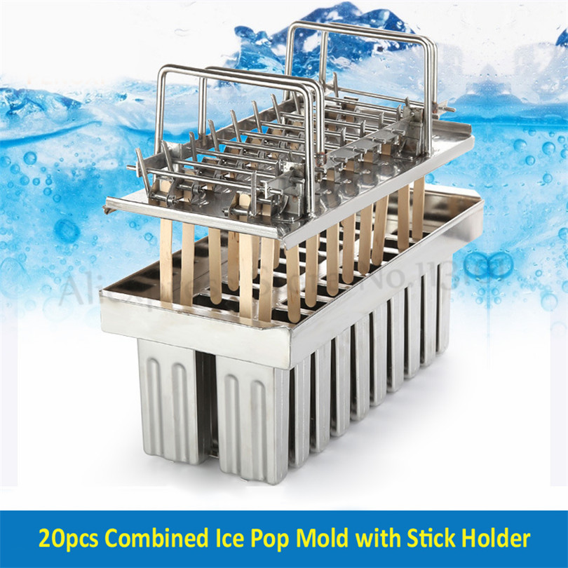 Stainless Steel Ice Pop Molds Ice Lolly Popsicle Stick Holder Mold 20 Cells Batch 6 Options Commercial DIY Tools in Ice Cream Makers from Home Appliances