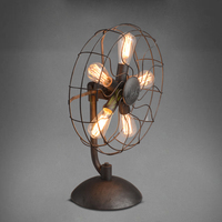 American fashion brief personalized Loft vintage electric fan table lamp e27 with 5 pcs edsion bulb lamp