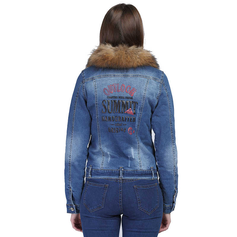 VooBuyLa ブランドファッションプラスサイズ 6XL デニムジャケットとアライグマの毛皮の襟 2017 冬ダウン綿ストレッチジーンズコート