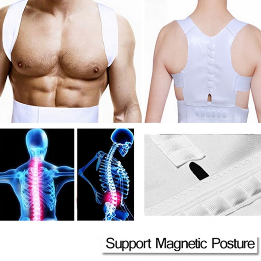Comfortable Magnetic Posture Support Corrector Back Pain Belt Brace Shoulder Release Pain From Illness White Braces Belts